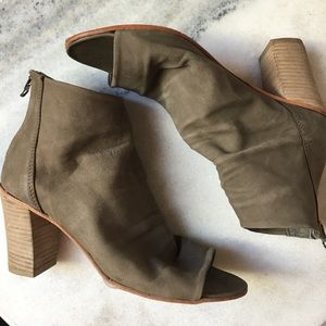 Free People Taupe Peep-toe Ankle Boots